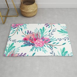 Modern hand painted pink turquoise floral watercolor pattern Rug