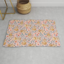 Cute Cubs and Pretty Poppies on Pastel Pink Linen Rug