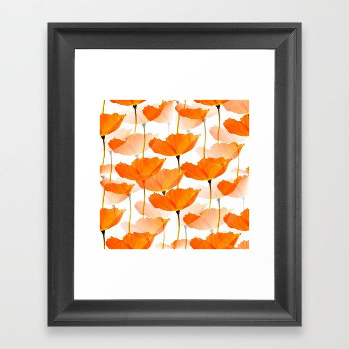 Orange Poppies On A White Background #decor #society6 #buyart Gerahmter Kunstdruck