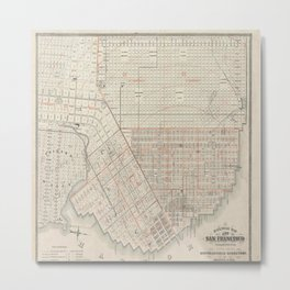 Vintage Map Of San Francisco Metal Print