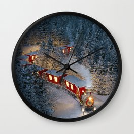 Christmas night - Amazing cute christmas train goes through fantastic winter forest in north pole. Wall Clock