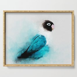 Masked Lovebird, Black-masked Lovebird, Collared Lovebird (Agapornis personatus)  Blue Parrot Bird Serving Tray