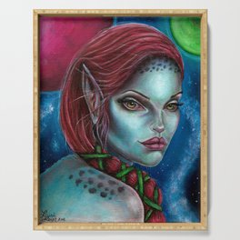 Apocolpyse Alien Girl Fantasy Art by Laurie Leigh Serving Tray
