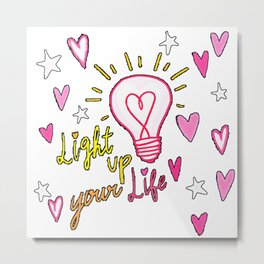 Love Quote Design, Colorful Hearts, Rainbows and Flowers (23) Metal Print