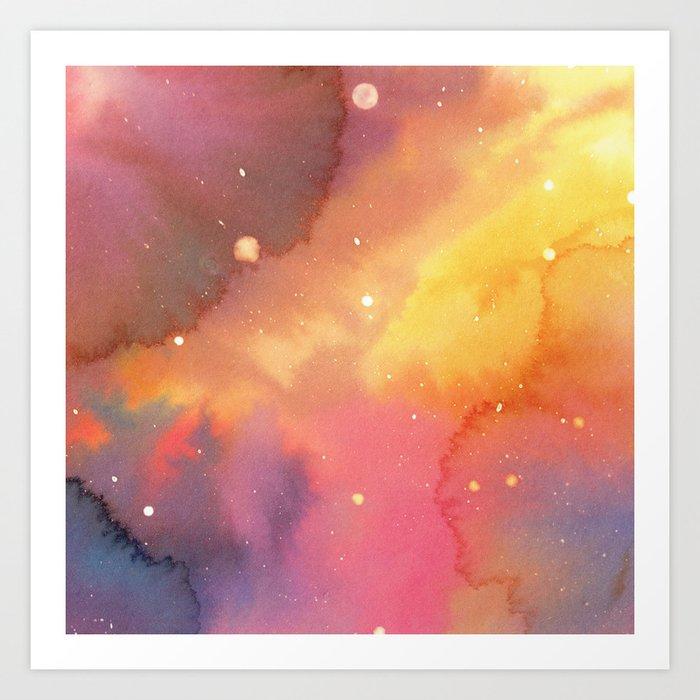 Watercolor Space 2 Art Print
