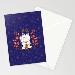 Maneki-neko cat with good luck kanji Stationery Cards