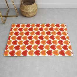 Mid-century Modern Hearts, Abstract Vintage Heart Pattern in Hot Red and Orange Color Rug