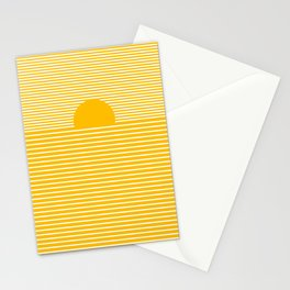 Modern minimalist style landscape with sun in white and yellow Stationery Cards