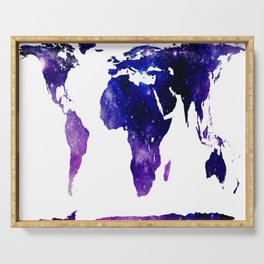 World Map Purple Blue Galaxy Serving Tray