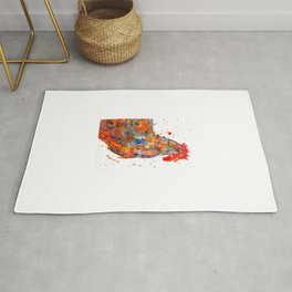 Watercolor Rooster Rug