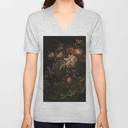 Flowers, Lizards and Insects - Elias van den Broeck (1650-1708) Unisex V-Neck
