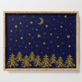 Sparkly Christmas tree, moon, stars Serving Tray