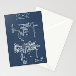 Mac 10 Uzi blueprint Stationery Cards