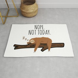 Nope. Not Today! Funny Sleeping Sloth On A Branch Gift Rug