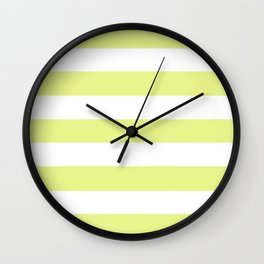 Key lime - solid color - white stripes pattern Wall Clock