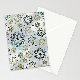 Festive Golden Abalone Shell Snowflake pattern Stationery Cards