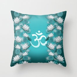Om Symbol Gentle Lotus Stream on teal Throw Pillow