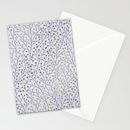 Silver & Periwinkle Berry Branches Stationery Cards