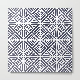 Ethnic, Geometric, Boho Art, in Navy and White Metal Print