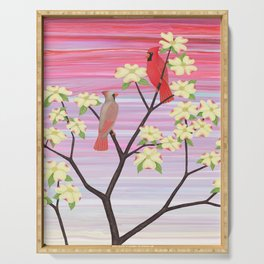 cardinals and dogwood blossoms Serving Tray