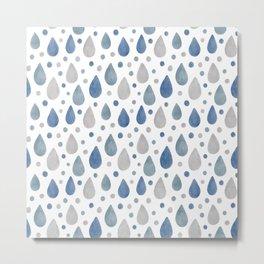 Blue, Grey and White Raindrops Watercolour Pattern Metal Print