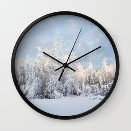 Snowy Tree Horizion Wall Clock