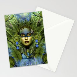 """""""Tropical green and indigo jungle Woman"""" Stationery Cards"""