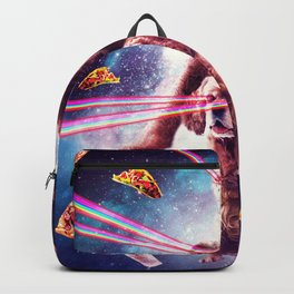 Laser Eyes Space Cat Riding Sloth, Dog - Rainbow Backpack