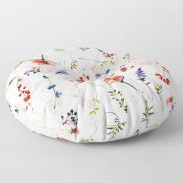 Scandinavian Midsummer Botanical Wildflowers Meadow Floor Pillow