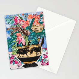 Tropical Banksia Bouquet after Matisse in Greek Boar Urn on Pale Painterly Blue Stationery Cards