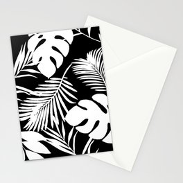 Tropical Monstera And Palm Leaves Black N White Stationery Cards