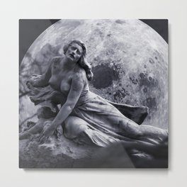 Female nude, once in a blue moon black and white photograph / art photography Metal Print
