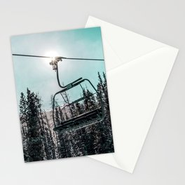Empty Skilift // Dark Blue and Teal Snowboarding Dreaming of Winter Stationery Cards