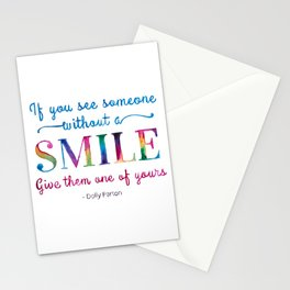 Give a SMILE - Dolly Parton Quote Stationery Cards