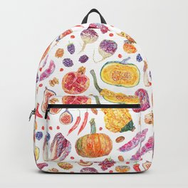 Autumn Harvest Pattern White Backpack