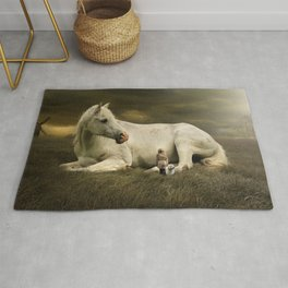 Fascinating Fantasy Little Girl And Dog Making Acquaintance With Giant White Horse Rug