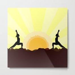 Yoga Landscape With 2 Women Metal Print