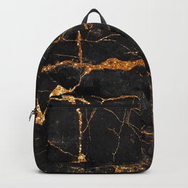 Black Malachite Marble With Gold Veins Backpack