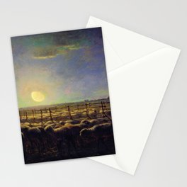 Jean-Francois Millet - The Sheepfold, Moonlight - Digital Remastered Edition Stationery Cards