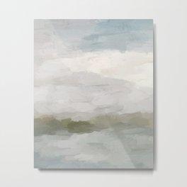 Gray Blue Sage Green Sunrise Abstract Nature Ocean Painting Art Print Wall Decor  Metal Print