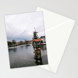 Iconic mill 'The Adrian' in Haarlem alongside a frozen Spaarne canal | Ice skating | Reflections | Architectural fine art print Stationery Cards