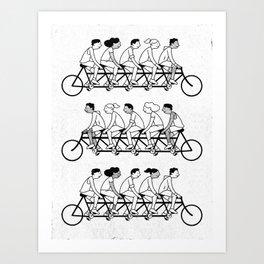 Bicyclists (B&W) Art Print