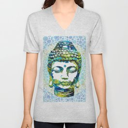 Colorful Enlightenment - Buddha Spiritual Art - By Sharon Cummings Unisex V-Neck