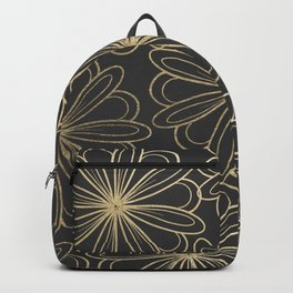 Modern elegant black faux gold hand painted floral Backpack