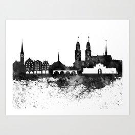 Zurich Black White Drops Skyline Art Print