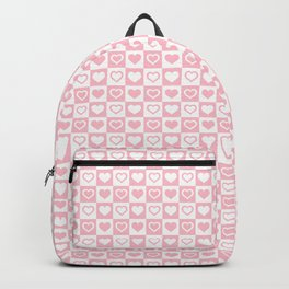 Bubblegum Pink & White Valentines Love Heart Check Backpack