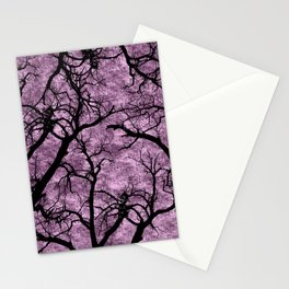 Silhouette Tree Branches on Magenta Watercolor Background Stationery Cards