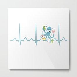Oceanographer Heartbeat Metal Print