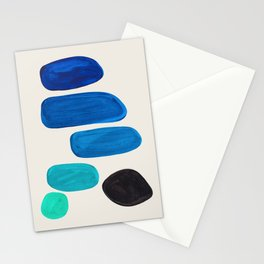 Mid Century Modern Retro Minimalist Colorful Shapes Phthalo Blue Marine Green Gradient Pebbles Stationery Cards
