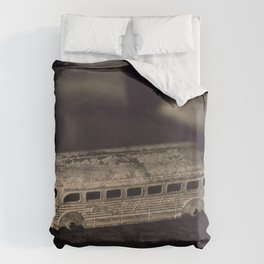 Tintype of Vintage Toy Bus Duvet Cover